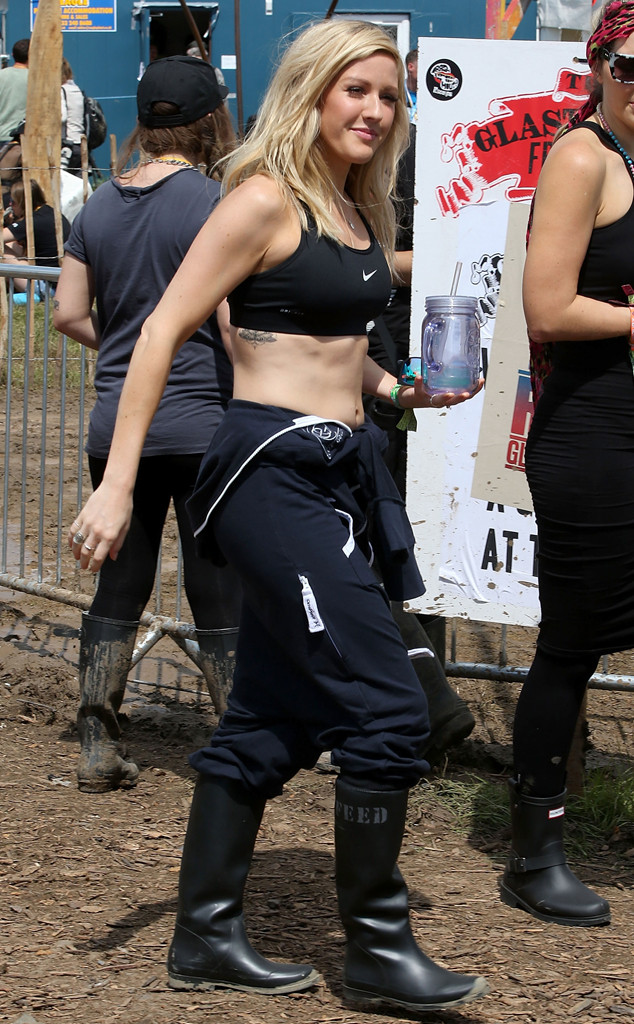 Historical Look Back at Celebs in Wellies at Glastonbury Festival, Ellie Goulding