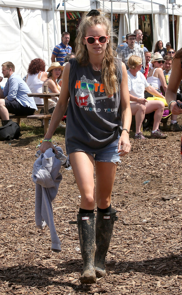 Historical Look Back at Celebs in Wellies at Glastonbury Festival, Cressida Bonas