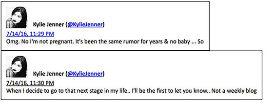 Kylie Jenner, Tweets