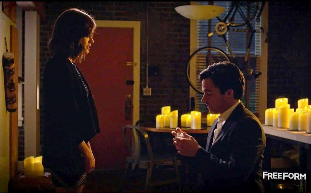 Ezra and Aria,  Pretty Little Liars  -  They got cute, eventually, but it's really, really hard to forget their sketchy beginnings. He was her high school English teacher, and he was secretly stalking her and writing a book about her and her friends the whole time.