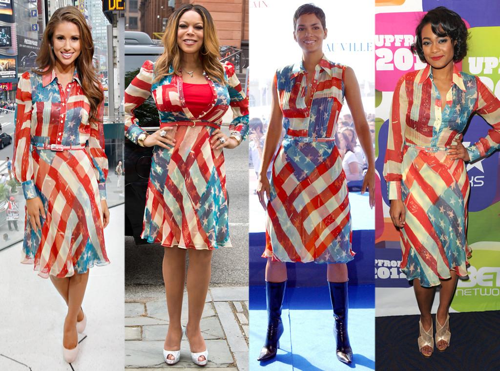 Halle Berry, Tatyana Ali, Wendy Williams, Nia Sanchez, American Flag Dress