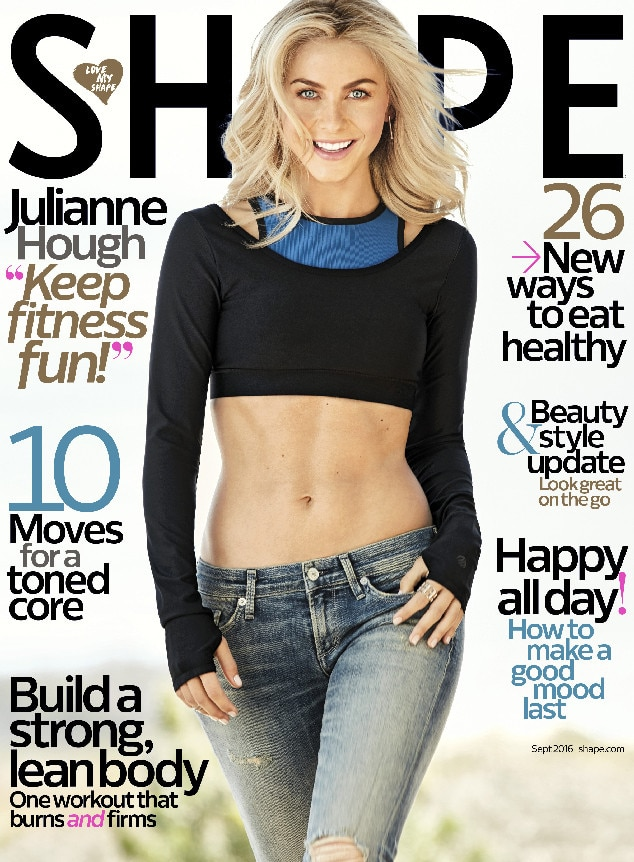julianne hough shape from 2016 september issue covers e news canada. Black Bedroom Furniture Sets. Home Design Ideas