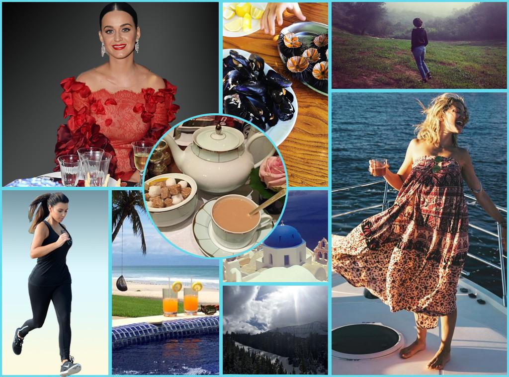 Celebrities on Vacation, Kim Kardashian, Kate Hudson, Katy Perry, Anne Hathaway