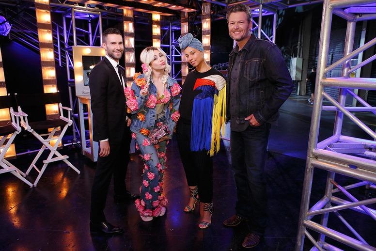 The Voice, Carson Daly, Miley Cyrus, Blake Shelton, Adam Levine, Alicia Keys