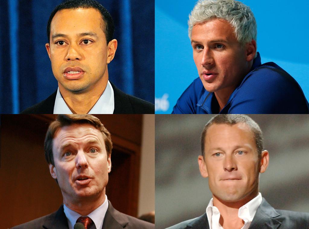 Tiger Woods, Lance Armstrong, John Edwards, Ryan Lochte