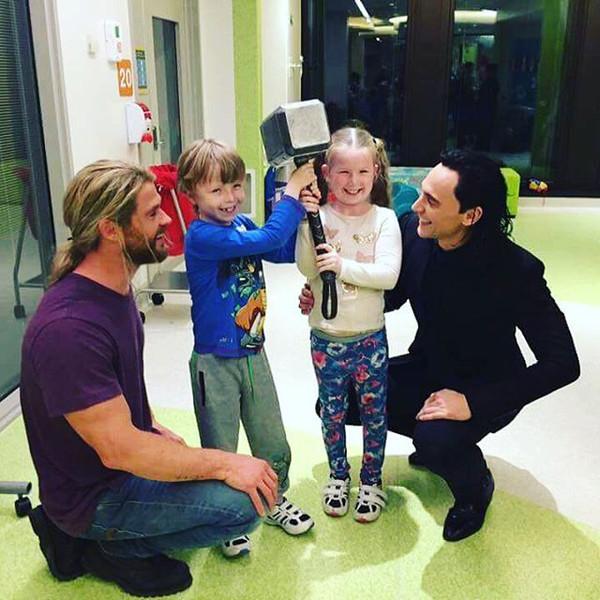 Chris Hemsworth and Tom Hiddleston Visit a Children's ...