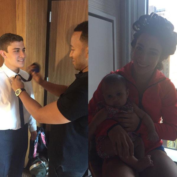 Aly Raisman, Chrissy Teigen, John Legend, Luna Simone Stephens, 2016 MTV VMAs
