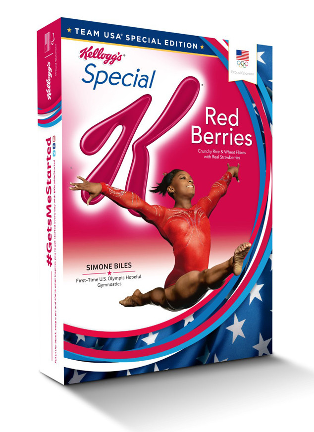 Biles performing an aerial split on the front cover of Kellogg's brand product.