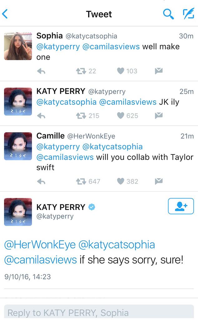 Katy Perry, Taylor Swift, Tweet, Sept 10 2016
