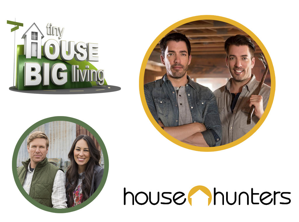 HGTV Bracket, Fixer Upper, House Hunters logo, Property Brothers, Tiny House Big Living logo