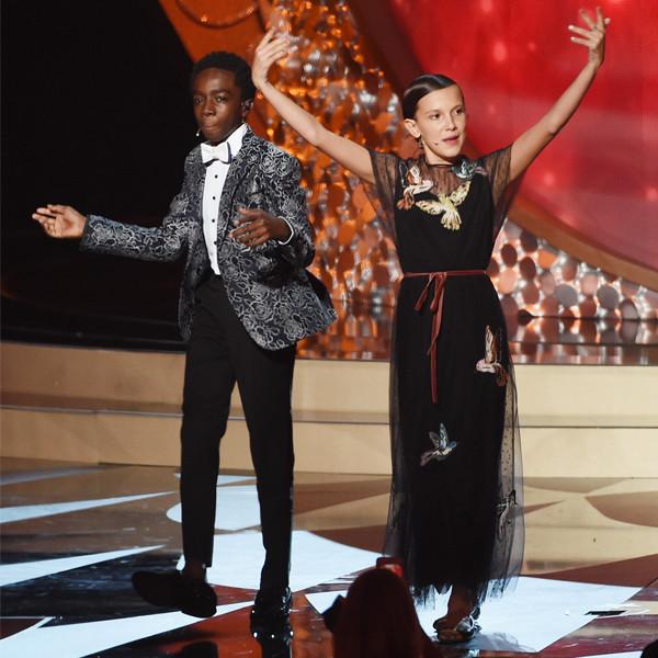 Gaten Matarazzo, Caleb McLaughlin, Millie Bobby Brown, 2016 Emmy Awards