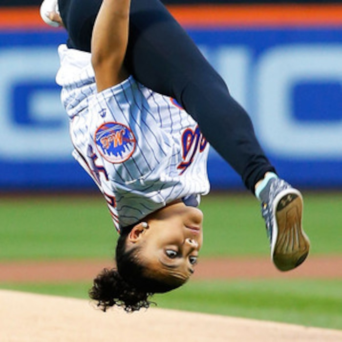 watching laurie hernandez throw out the first pitch at new york mets