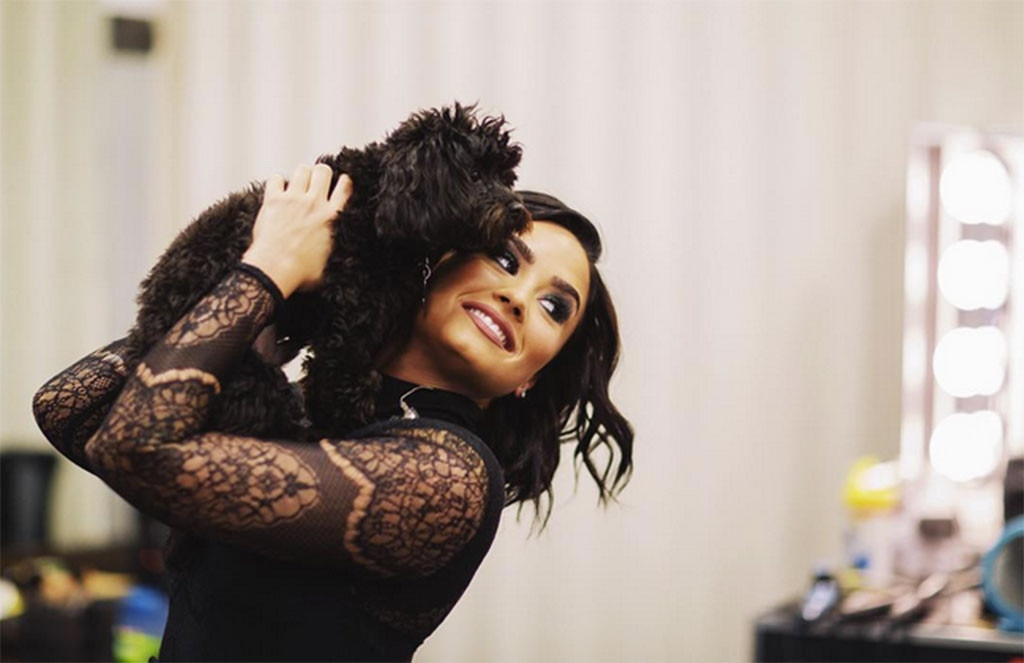"Demi Lovato -  ""Little bae,"" the star wrote while hugging her pup."