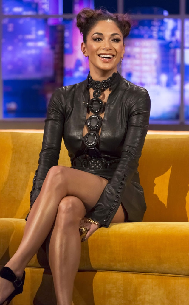 Nicole Scherzinger wearing a leather dress