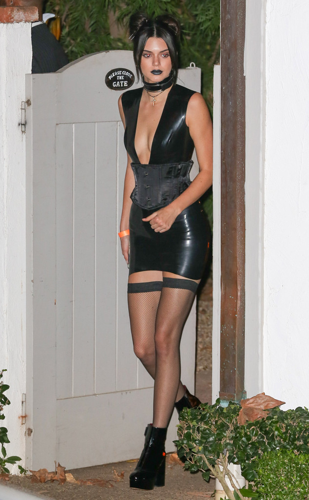 Kendall Jenner Wears Skintight Latex Dress Thigh High Fishnets For