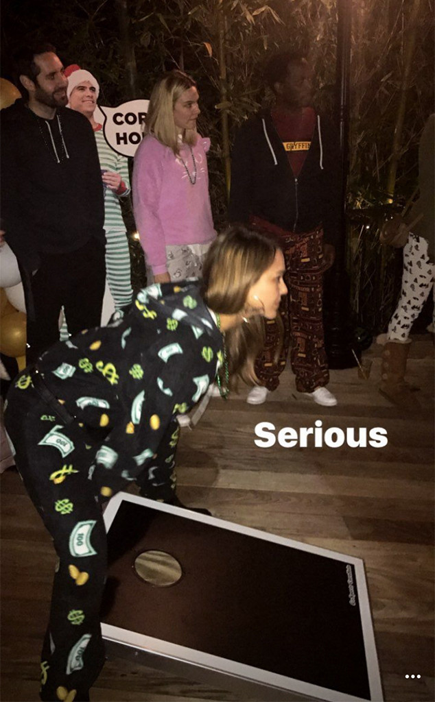 Jessica Alba, Cash Warren, Pajamas, Birthday Party