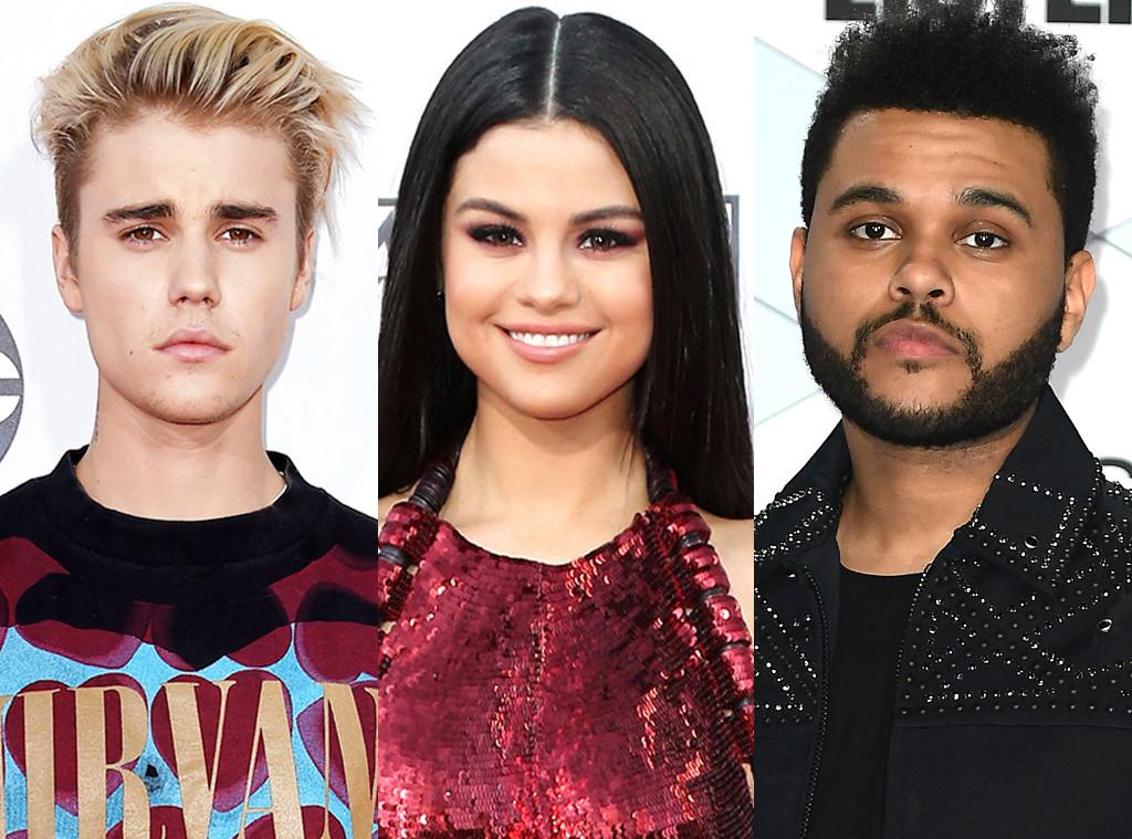 Justin Bieber, Selena Gomez, The Weeknd