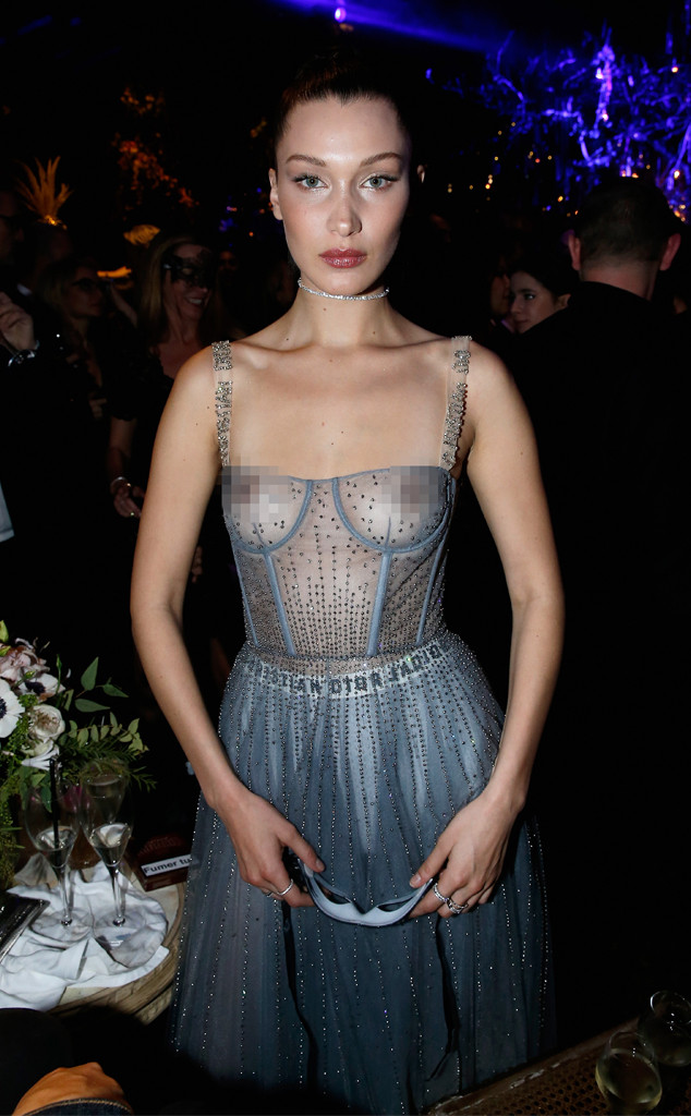 bella hadid nearly bares all in sheer dress e news