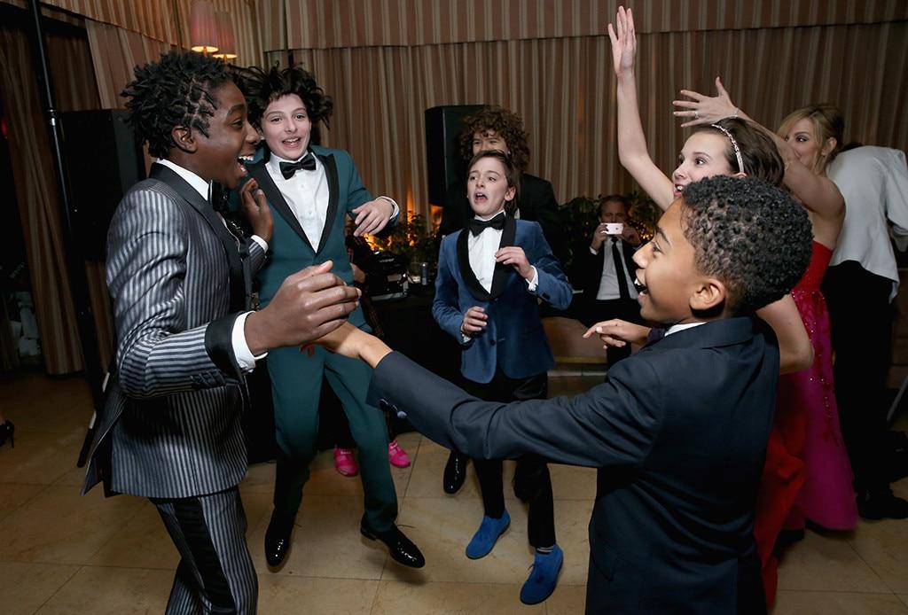 Caleb McLaughlin, Finn Wolfhard, Noah Schnapp, Millie Bobby Brown, Miles Brown, 2017 SAG Awards Party Pics, Stranger Things Kids