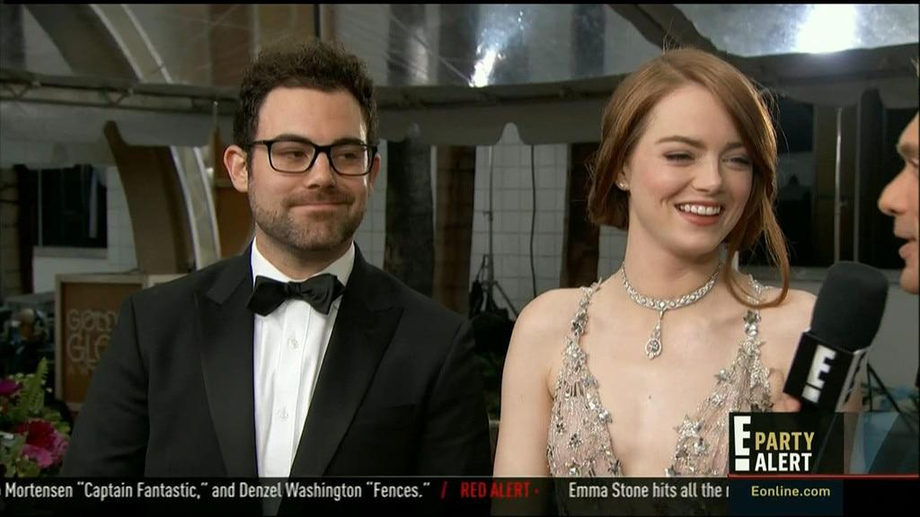 Emma Stone, Brother, Spencer Stone, 2017 Golden Globes Red Carpet
