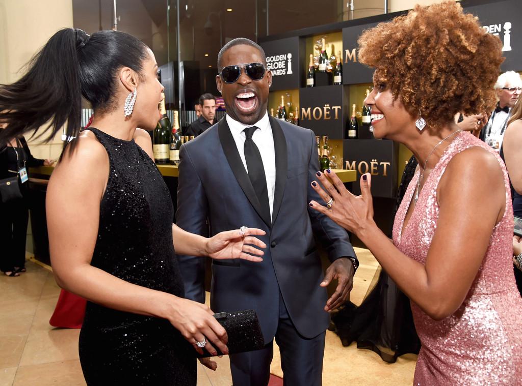 Susan Kelechi Watson, Sterling K. Brown, Ryan Michelle Bathe, 2017 Golden Globes, Candids