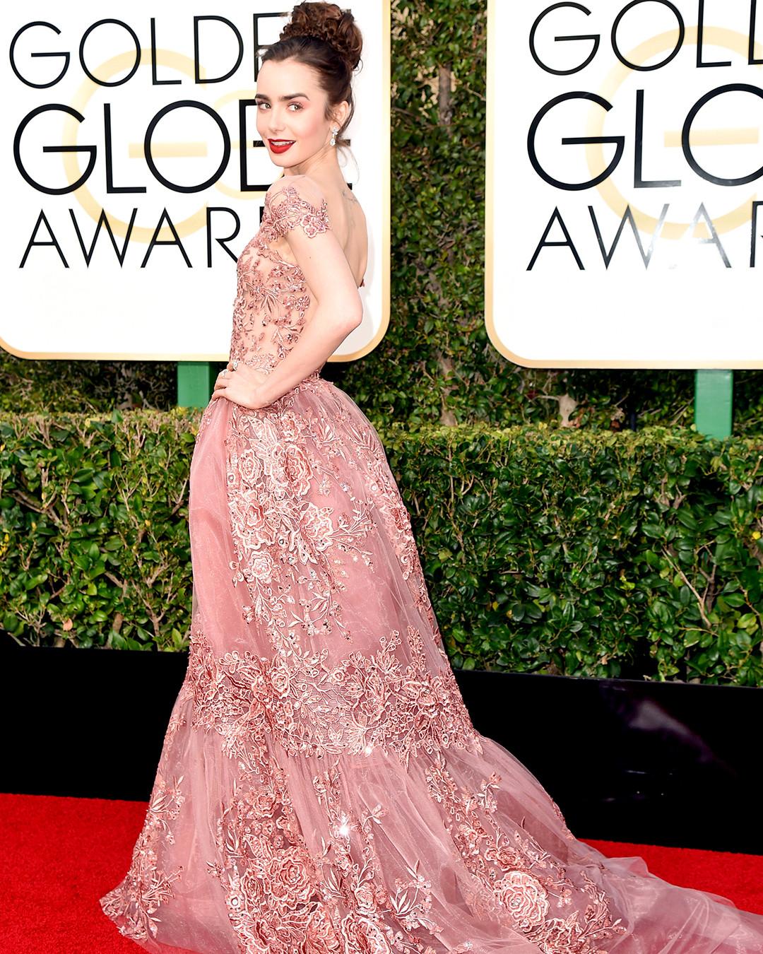 Instagram, Lily Collins, 2017 Golden Globes