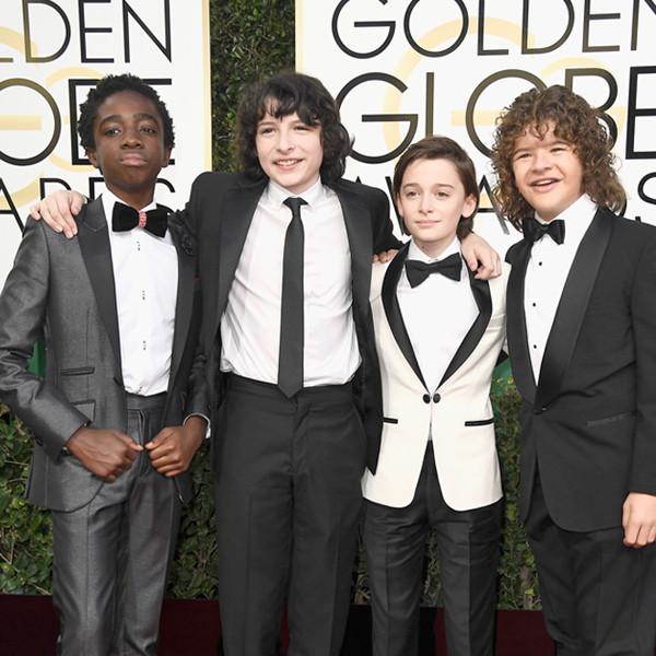 Candids, Caleb McLaughlin, Finn Wolfhard, Noah Schnapp, Gaten Matarazzo, 2017 Golden Globes