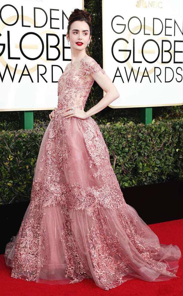 Best Dressed Celebs at the Golden Globe Awards 2017: Lily Collins ...