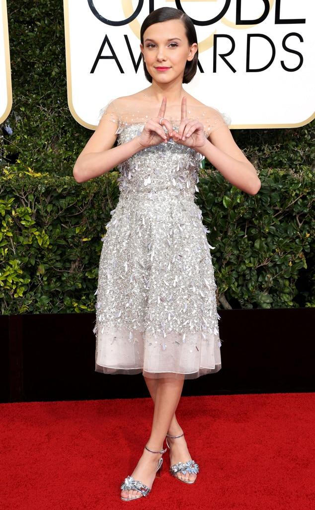 Millie Bobby Brown, 2017 Golden Globes, Candids