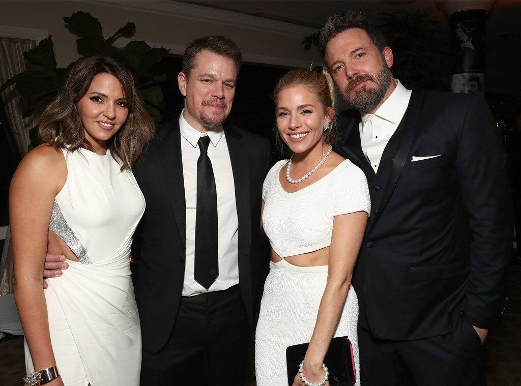 Luciana Barroso, Matt Damon, Sienna Miller, and Ben Affleck, Golden Globes 2017 Party Pics, Amazon Studios