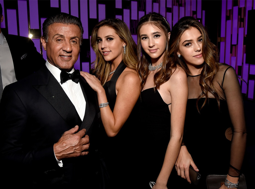 Sylvester Stallone, Scarlet Rose Stallone, Sophia Rose Stallone, Sistine Rose Stallone, Golden Globes 2017 Party Pics, Instyle