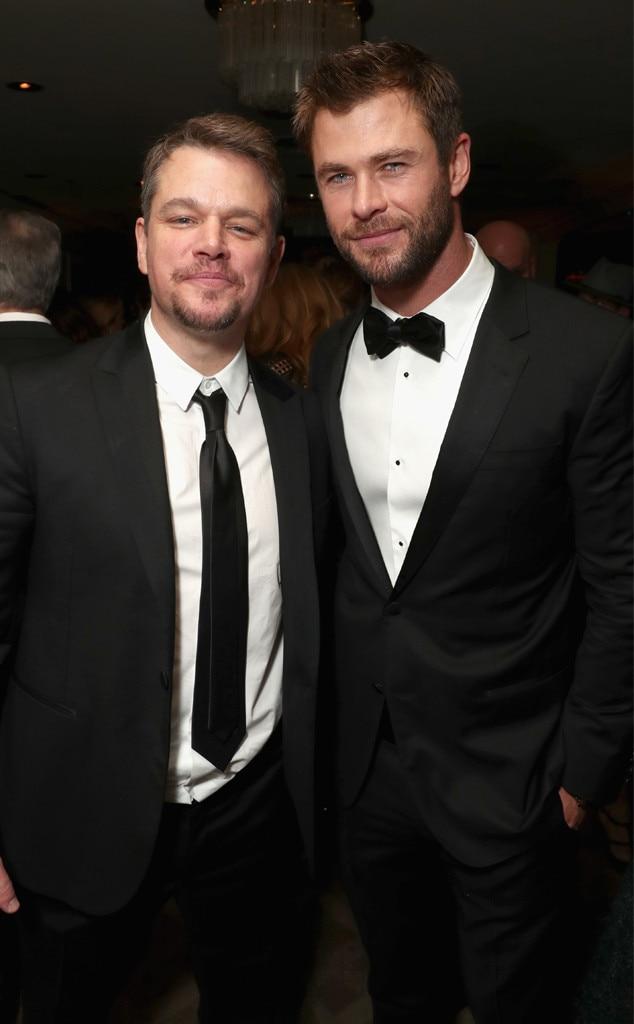 Matt Damon, Chris Hemsworth, Golden Globes 2017 Party Pics, Amazon Studios