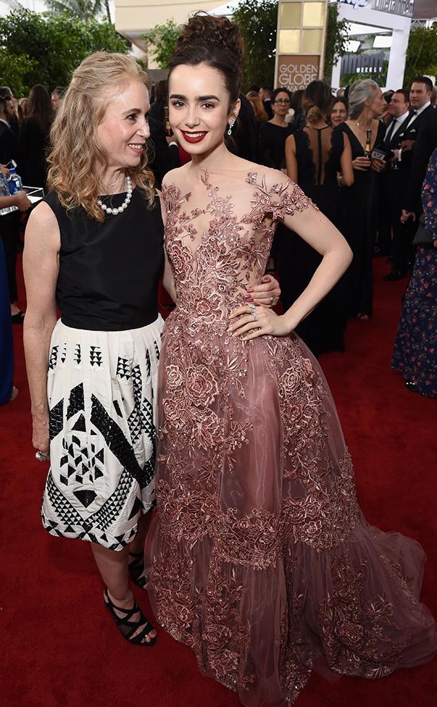Lily Collins, Jill Tavelman, Mom, 2017 Golden Globe Awards