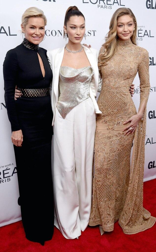 Yolanda Foster, Bella Hadid, Gigi Hadid, Glamour 2017 Women of The Year Awards