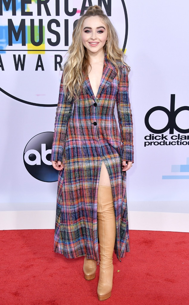 Sabrina Carpenter -  Some might say this plaid number isn't quite glam enough for the event, but we applaud the singer for her bold ensemble on the 2017 red carpet.