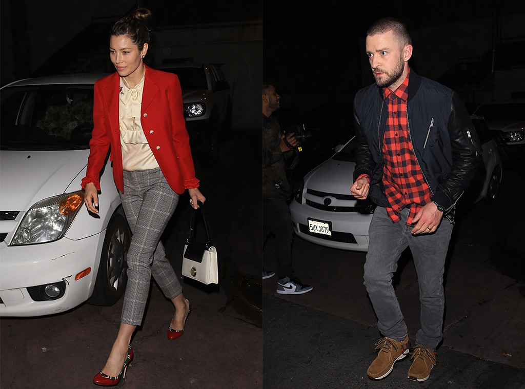 Justin Timberlake And Jessica Biel Wear Color-Coordinated