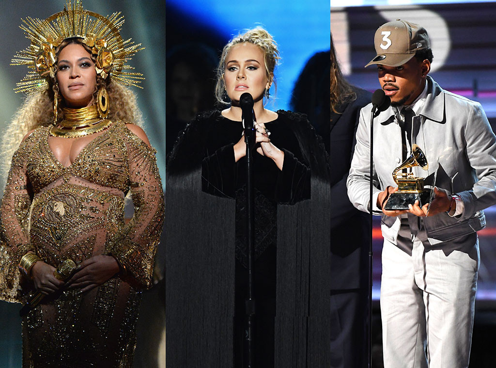 Beyonce, Adele, Chance The Rapper, 2017 Grammy Awards