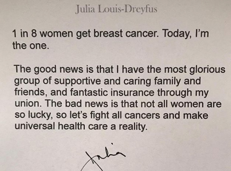 Julia Louis Dreyfus, cancer battle