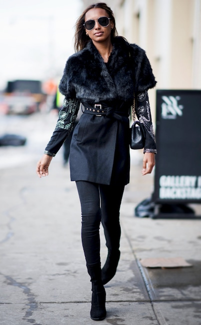 ESC: Belted coats, and Jasmine Tookes