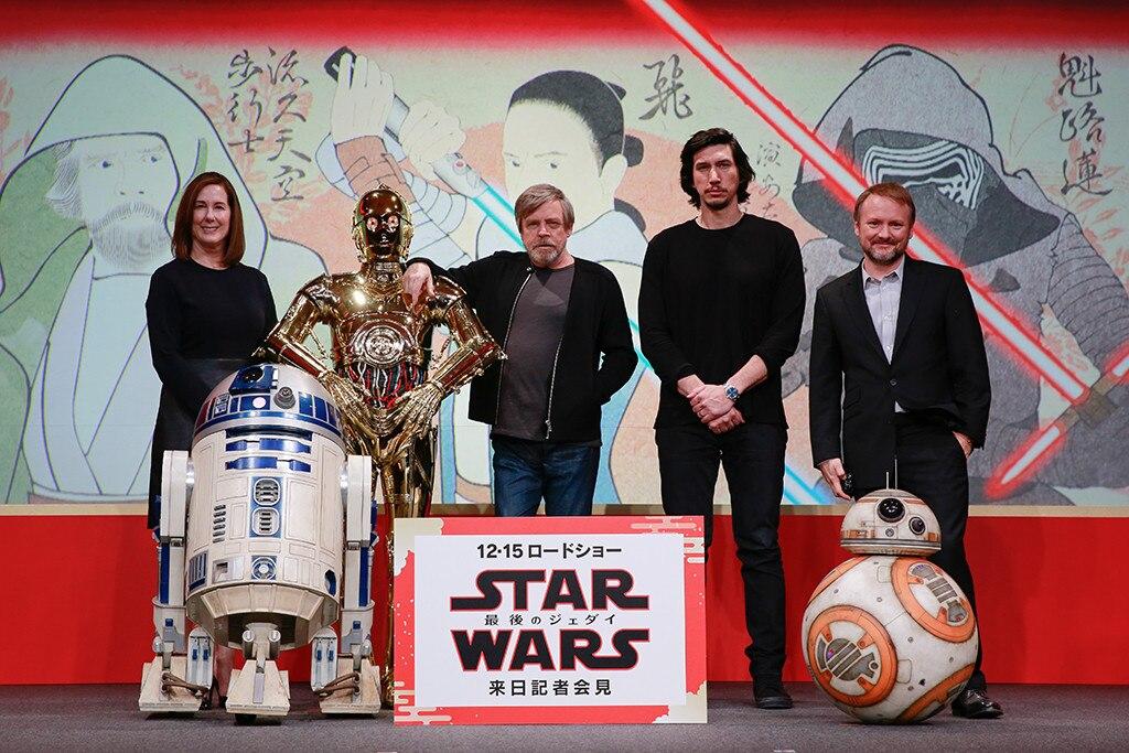 Kathleen Kennedy, Mark Hamill, Rian Johnson, Adam Driver, Star Wars: The Last Jedi, Tokyo, Japan, Premiere