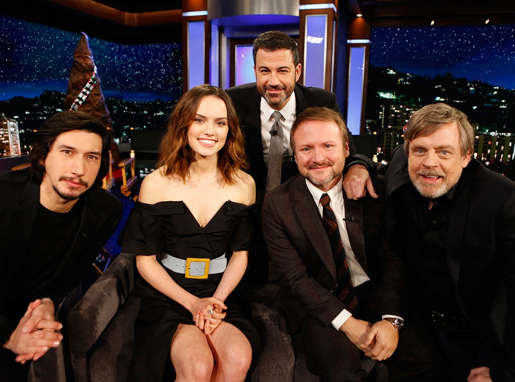 Adam Driver, Daisy Ridley, Rian Johnson, Mark Hamill, Jimmy Kimmel Live!