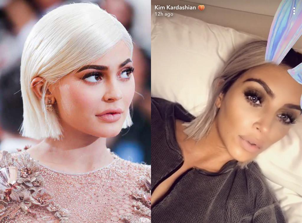 Kim Kardashian Cuts Blond Hair Even Shorter Channeling Kylie E Online
