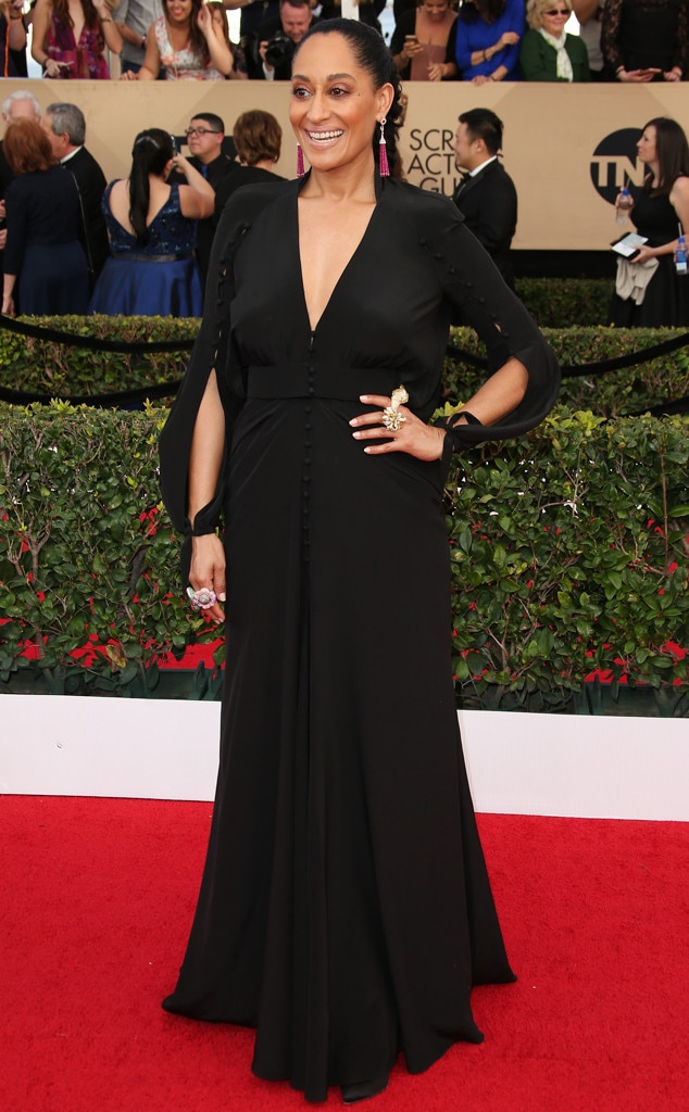 Lovely LBD -  The actress stunned at the 2017 SAG Awards in this simple and elegant Ulyana Sergeenko black dress.