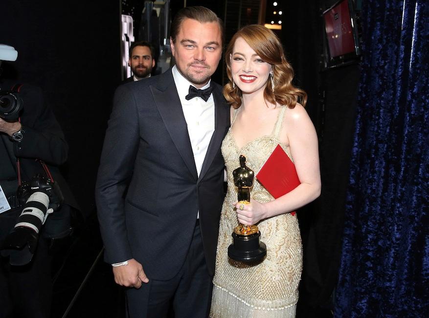 Leonardo DiCaprio, Emma Stone, 2017 Oscars, Academy Awards, Candids