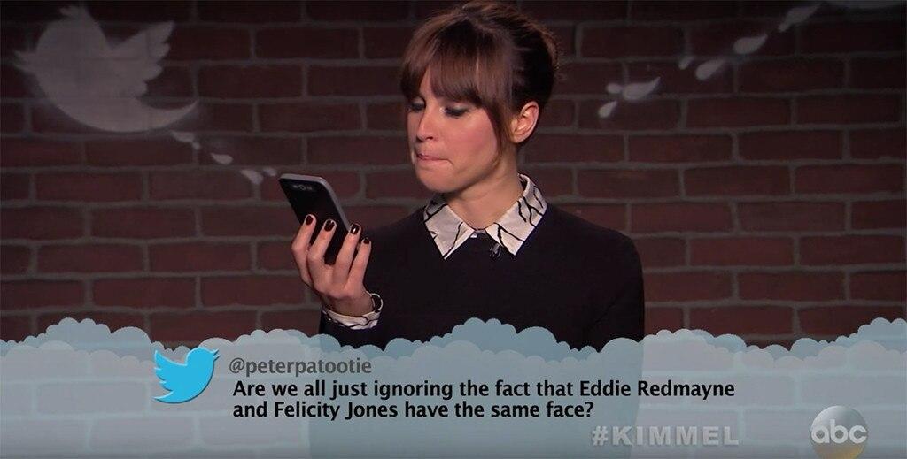 Felicity Jones from Celebrity Mean Tweets From Jimmy ...