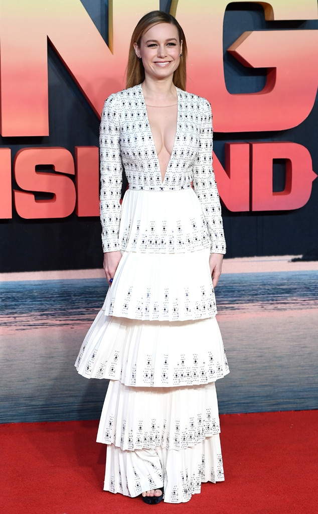 Head Turner -  Heads turned as Brie posed for pictures in Ralph and Russo at the London premiere of  Kong: Skull Island .