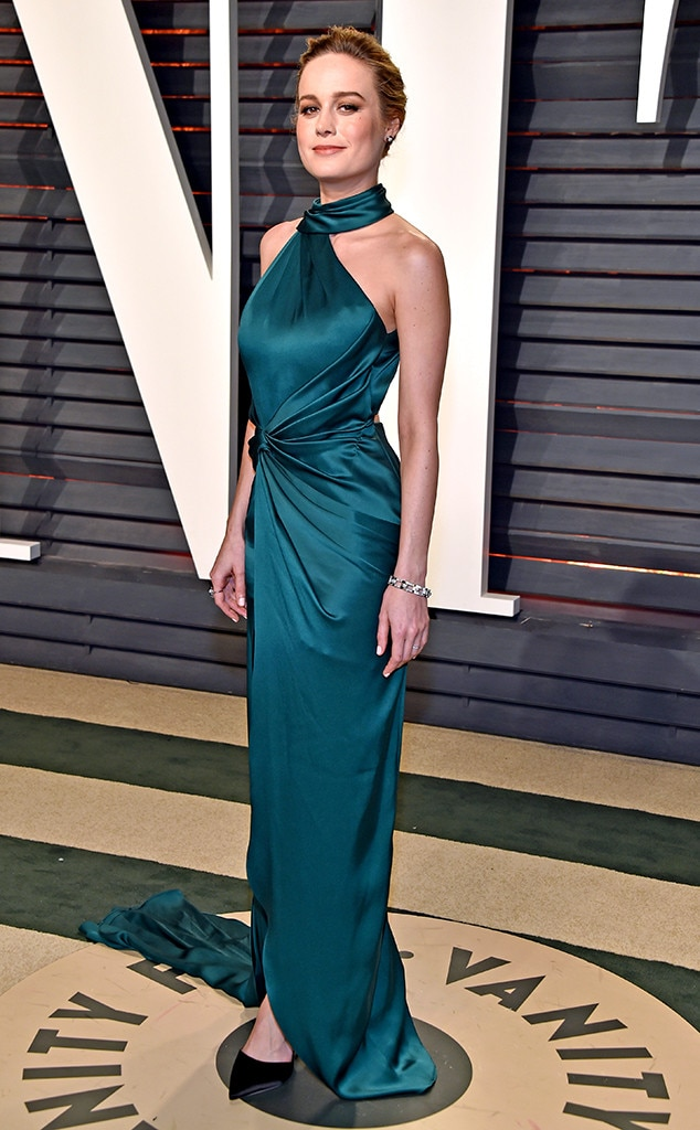Gorgeous in Green -  Brie celebrated at the 2017  Vanity Fair  Oscar party in this beautiful emerald green Ralph and Russo number.