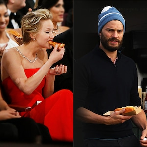 Jennifer Lawrence, Jamie Dornan, Eating