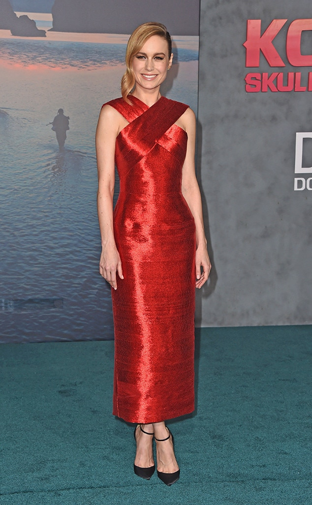"""Go Red -  The actress used her custom red Oscar de la Renta dress to support International Women's Day at the LA premiere of """"Kong: Skull Island."""""""