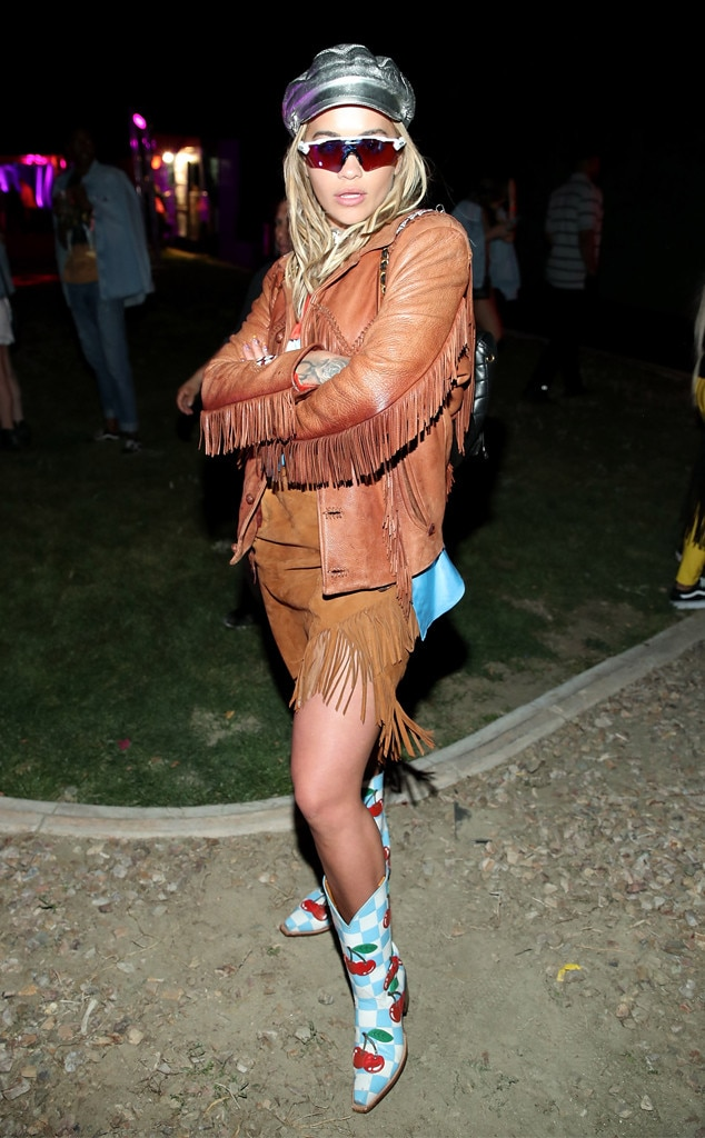 Rita Ora -  The British singer pairs her fringed get-up with some checkered cowboy boots with cherries on it.